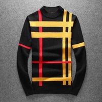 2021 мода мужская пуловер небольшой 0-шеи свитер осень и зимний вязать толстые с длинными рукавами цвета подходящие полосатый свитер плотно установленный верх