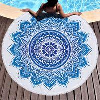 Havlu 150 cm Mandala Plaj Açık Yüzme Giyim Bez Yumuşak Baskılı Bohemian Goblen Yuvarlak Banyo Kumaş Piknik Battaniye Mat