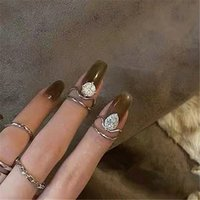 Personalized Design ring Super Zircon Cover Flash Real gold plated Index Finger Female Niche Personality Ladies Nail Ring girlfriend