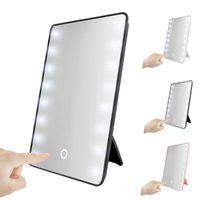 مرآة مكياج مرايا مدمجة مع 16/22 LEDs التجميل لمسة باهتة التبديل بطارية تعمل حامل ل السفر