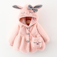 cute toddler girl coat thick fur hooded button jacket coat for 6-24month baby newborn infant Winter coat outerwear clothes