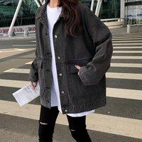 Women's Jackets 2 Colors Casual Jean Coats 2021 Autumn Women Loose Denim Jacket Long Sleeve Female Girls Outwear Oversize (78228)