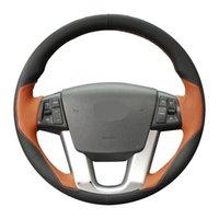 Сшитые рукой черный натуральный кожаный автомобиль руля крышка для Kia Sorento 2009-2014 K7 Cadenza 2011-2015