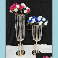 Outro Evento Festivo Festa Suprimentos Home GardenGold Sier Acrílico Flower Ball Ball Table Centerpiece Vaso Stand Cristal Castiçal Weddin