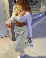 Stacked Sweatpants Women's Fleece Thick Sports Fitness Drawstring with Pocket Streetwear Flare Pants Bulk Item Wholesale Lots X0713