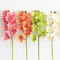 4P Kunstmatige latex Cymbidium Orchidee Bloemen 10 Hoofden Real Touch Goede Kwaliteit Phalaenopsis Orchid for Wedding Decoratieve bloem 2188 V2