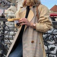 Simplee повседневный отворот женщины женские пальто с двойной погружной сшивают плед женские длинные траншеи High Street Style Damages Awarts N514 #