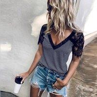 Women's T-Shirt Plus Size 2xl Womens Striped Print Lace Splice Short Sleeve Female Tops 2021 Summer V-neck Casual Tee Shirt Femme