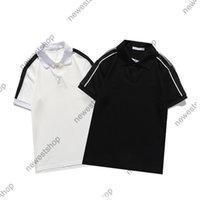 2021 Yaz Yeni Erkek Bayan Tasarımcı Lüks T Shirt Nakış Mektubu Çizgili Kollu Pamuk T-shirt Casual Polo Tişört Tee Rahat Top