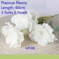 Decorative Flowers & Wreaths Artificial Floating Snow Peonies 6 Heads Bouquet White Pink Silk Fake Wedding Home Decoration