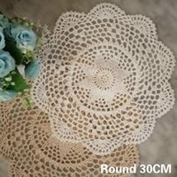 Tappetini tappetini 30 cm rotondo tavola moderna in cotone pizzo tavolino tappetino tappetino cestino crochet doily placemat tazza tazza tazza tazza da sposa bevanda cucina