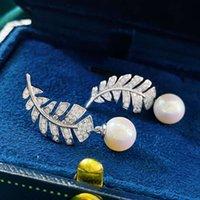 Hbp moda novo s925 puro prata mulher natural pérola luz luxo pequeno fragrância simétrica brincos de penas criativas