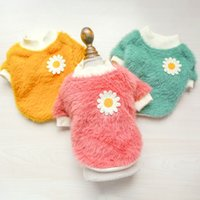 Dog Apparel autumn and winter teddy dogs pet clothes cat chrysanthemum pattern thickened