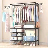 Hangers & Racks Simple Fashion Coat Rack Large Capacity Wardrobe Bedroom Closet Hanger Mutifunctional Storage Organizer Floor Shelf