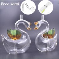 2pcs mini Smoking water pipe Swan shape Glass Oil Burner Bong 10mm Recycler Dab Rig Thick Pyrex Bubbler ash catcher bong with glass oil bowl