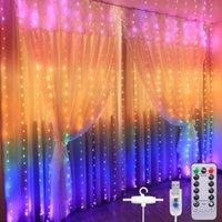 Arco iris LED Luces de cadena 8 Modo remoto impermeable Luz de cortina de hadas para fiesta de Navidad Lámpara de dormitorio de la ventana de la fiesta con gancho