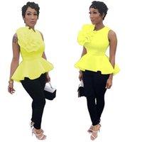 Mujer con volantes HEM camisetas Tendencia de moda Sin mangas Cuello redondo Tops Tops Tops Diseñador Femenino Verano Nuevo Slim Shrink Shrink Tshirts