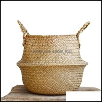 Hanging Baskets Kitchen Housekee Organization Home & Gardenwoven Woven Seagrass Tote Belly Basket For Storage Laundry Picnic Plant Pot Er Be