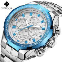 2021 WWOOR Hohe Qualität Sieben Nadel Mann Bewegung Abschnitt Stahl Bring Quarz Wasserdichte Armbanduhr Chronograph Watch Wholesales Armbanduhren