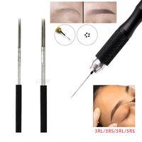 الإبر الوشم 100 قطع microblading eyeborw شبه دائم ماكياج شفرات التظليل جولة 3r / 5r الضباب إبرة دليل القلم
