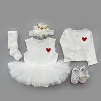 의류 세트 베이비 Bodysuit 유아 소녀 공주 코트 + 드레스 + 머리띠 + 스타킹 + 신발 세례 세례 가운 파티 웨딩 투투 드레스