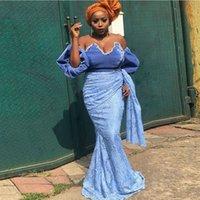 ASO EBI Mermaid Abiye Yarım Kollu Dantel Pleats ile Afrika 2022 Parti Elbise Örgün Giyim Özel Dubai Balo Abiye
