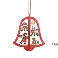 Navidad adornos de madera 3D láser hueco copo de nieve árbol campana feliz árboles árboles decoraciones fwd11184