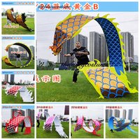 10m Chinese Dragon flying mascot Costume Outdoor golden plated handmade Sports Square Ribbon Halloween Party Carnival Funny Toys Group Birthday New year