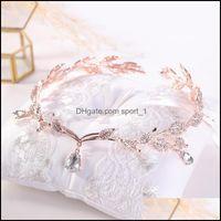 Jewelrykmvexo Rose Gold Crystal Crown Bridal Aessory Wedding Rhinestone Teardrop Leaf Tiara Headband Frontlet Bride Hair Jewelry Drop Delive