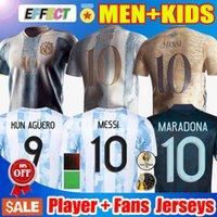 플레이어 팬 버전 아르헨티나 축구 유니폼 20 21 Copa America Home 1986 축구 셔츠 2021 2022 메시 Dybala Lo Celso National Team Maradona Men + Kid 키트 유니폼