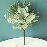 DIY Flores artificiales con hierba Bouquet Mixed PLANTAS FAKES PLANTAS CIERRARIA Hojas del verde de la boda Decoración de la decoración de la corona de la disposición