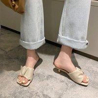 Manlegu Женщины тапочка 2020 Летний квадратный носок на высоком каблуке женские сандалии Mujer высокое качество флип флоп платье обувь скольжениями 92S7 #