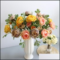 Festive Party Supplies Garden5Pcs 2 Heads Of Peony Artificial Flowers For Home Wedding Decoration Diy Holding Marriage Bouquet Silk Wreath D
