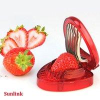 Strawberry Slicer Obstwerkzeug Neue Kunststofffrucht Carving Messerschneider mit 7 Edelstahl-scharfen Klinge Kitchen Gadgets RRF11067