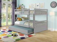 우리 주식 어린이 침대는 트렁크, 분리 가능, 회색이있는 이층 침대를 가득 찼습니다.