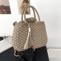 Evening Bags Designer Straw Rattan Shoulder For Women 2021 Ladies Autumn Winter Purses And Handbags Fashion Pearl Travel Bag
