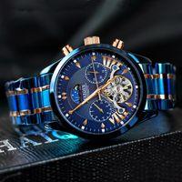 Montres-bracelets Haiqin Hommes Regardez les montres automatiques Top Blue Mechanical Mechanical Mode Bracelet Bracelet