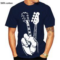 Hipster Bass Guitar T Shirt Stampante Stampante Camicia Cotone Correwneck Plus Size Manica Corta Guirst Guirt Mens T-shirt