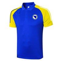2021 Bosna-Hersek Futbol Polo Gömlek Futbol Eğitimi Polos Spor Formaları Yetişkin Futbol Kısa Kollu Polos Giyim erkek Polos