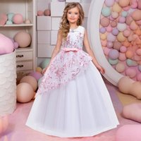 Girl's Dresses Vintage Flower Girls Dress For Wedding Evening Children Clothes Princess Party Pageant Long Gown Kids Costume