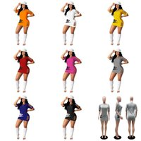 BodyCon Womens Dress Summer Dress Strappato Fori T Shirt Abiti Stretta Gonna corta RIP Strisce Tshirts TEE Top Sweat Shirt Sports Abbigliamento HH31CXS4