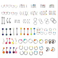 Çan Düğmesi JewelryWholesale Promosyon 110 adet Karışık Modelleri / Renkler Vücut Takı Seti Reçine Kaş Göbek Belly Dudak Dil Burun Piercing Bar