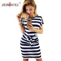 Sebowel Sommer Csul Stripes Taschen T-Shirt Kleid mit Gürtel Womn 2021 Oansatz Mini Kleider Female Slim Kurzkleid Vestidos