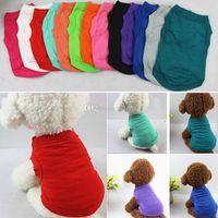 Pet T Shirt Summer Solid Dog Vestiti Moda Top Camicie Gilet Cotton Vestiti Cane Cucciolo Piccolo cane Vestiti Abbigliamento domestico a buon mercato