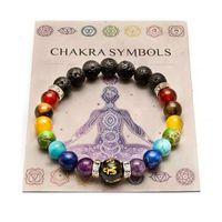 Frisado, fios 7 chakra pulseira com significado cardfor homens mulheres natural cristal healing ansiedade jóias mandala yoga meditação presente