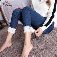 Cotday 슈퍼 따뜻한 여성 여성 높은 허리 새로운 마른 겨울 청바지 두꺼운 캐주얼 바지 스트레치 벨벳 데님 바지 Streetwear