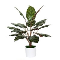Fleurs décoratives couronnes 45cm18 fourche artificielle grande feuille plante plastique tropical monstera bouquet réel senseur feuilles feuilles couvertes en pot