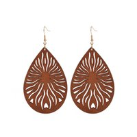 Geometric Natural Wooden Dangle Earrings For Womens All Matching