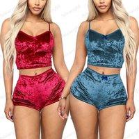 Women Pajamas Sets Sexy Velvet Two Piece Suits Ladies 2PCS Sleepwear Female Vest Shorts Set Summer Womens Nightwear 050716
