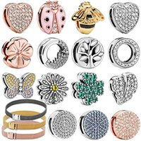 AKIYAMA 925 Sterling Silver Sparkling Flower Heart Clip Charms fit Original Pandora Reflexion Bracelets Women Jewelry